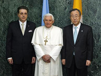 Secretary-General Ban Ki-moon (right) and Srgjan Kerim (left), President of the sixty-second session of the General Assembly, meet with His Holiness Pope Benedict XVI, upon his arrival. © UN Photo/Eskinder Debebe